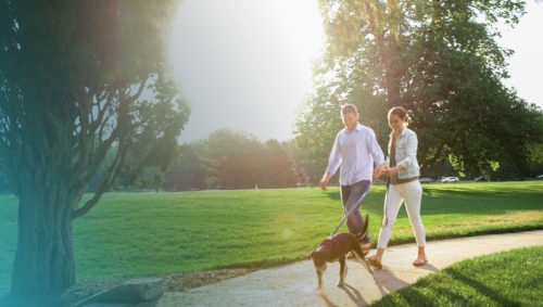 Women and Man walking their dog in the park